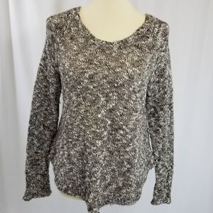 Eileen Fisher dark brown and cream marled sweater